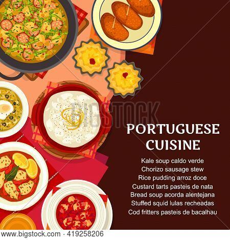 Portuguese Cuisine Food, Portugal Restaurant Dishes And Meals Menu, Vector. Traditional Portuguese F