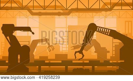 Industrial Robots Of Manufacturing Facility Vector Design Of Machinery Industry And Automation Techn