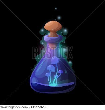 Potion Bottle With Danger Blue Mushrooms, Vector Glass Flask With Neon Glowing Fungi, Magic Elixir W
