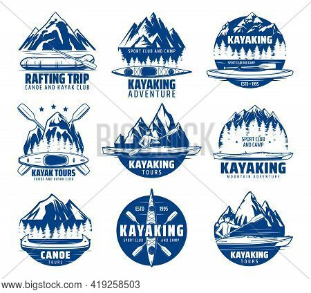 Kayaking, Rafting And Canoeing Sport Vector Icons With Kayak, Canoe And Raft Boats, Paddles, Mountai