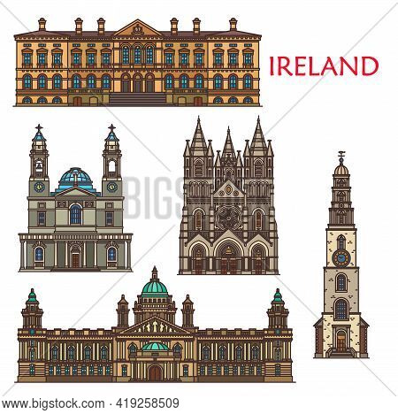 Ireland Architecture And Landmark Buildings, Ancient Sightseeing Places In Belfast And Cork City. Ir