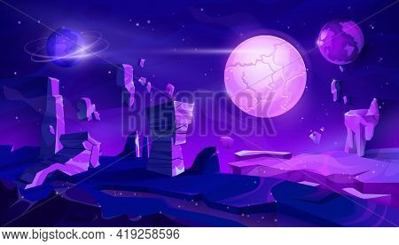 Alien Planet Neon Landscape, Space Night Vector Background With Flying Rocks, Planets In Starry Sky.