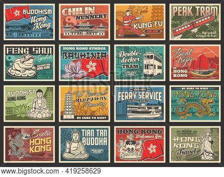 Hong Kong Travel Posters, Asian Tourism Landmarks And Sightseeing Tours, Vector Retro. Hong Kong Fla
