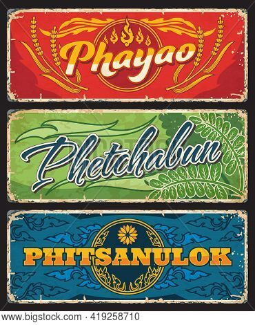 Phayao, Phetchabun And Phitsanulok Province Of Thailand Vector Plates With Thai Seals Ornament Of Fi