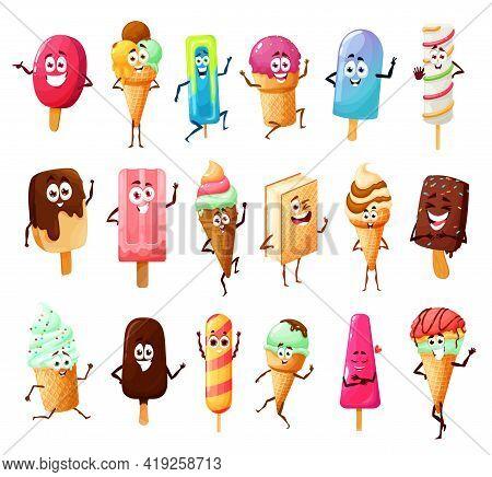 Cute Ice Cream Cartoon Characters Of Vector Summer Dessert Food. Icecream Cones With Vanilla Scoops,