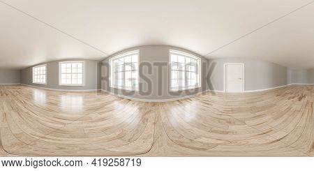 Full 360 Panorama View Of Empty Vintage Classic Retro Living Room Interior 3d Render Illustration Hd
