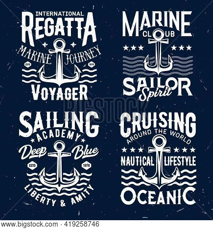 Tshirt Prints With Anchors And Sea Waves, Apparel Vector Design. Isolated Armature Labels With Typog