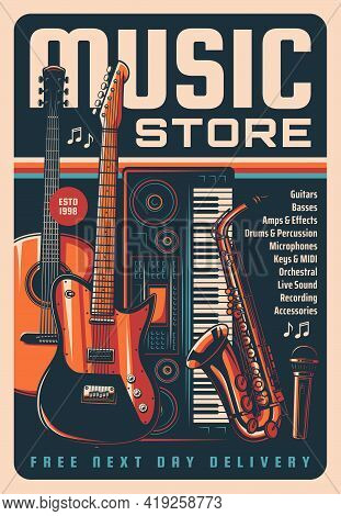 Music Instruments Store Vintage Poster, Sound Equipment, Acoustic And Electronic Musical Instruments