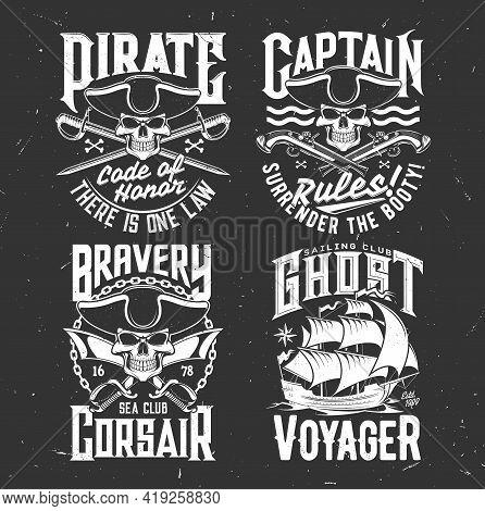 Pirate Captain Skull, Corsair Sail Ship T-shirt Vector Print. Sea Sailing Club Clothing Print Templa
