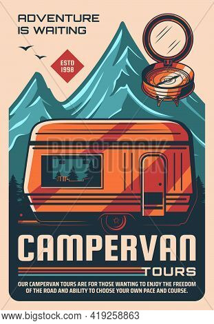 Campervan Travel Tours Vintage Poster. Outdoor Recreation And Tourism, Trip On Recreational Vehicle