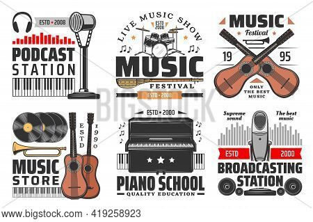 Music Isolated Vector Icons With Musical Instruments, Microphones, Headphones And Loudspeakers. Pian