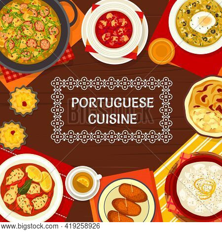 Portuguese Food Menu Cover, Portugal Cuisine Restaurant Dishes And Meals, Vector Poster. Portuguese