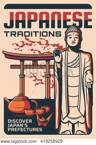 Japanese Tradition Vector Retro Poster With Japan Prefecture, Landmarks Buddha Statue, Traditional A