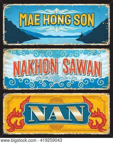 Mae Hong Son, Nan And Nakhon Sawan Provinces Of Thailand Vector Plates With Mountain Temple Wat, Orc
