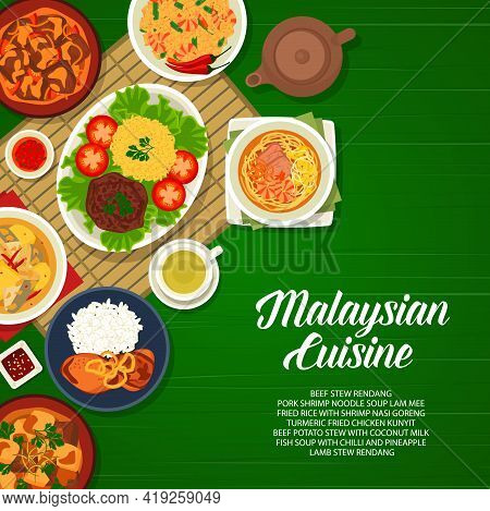 Malaysian Cuisine Food, Restaurant Menu Cover With Asian Dishes And Meals, Vector. Malaysia Lunch An
