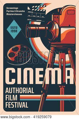 Film Festival Retro Poster. Cinema Authorial Screenings, Classic Cinematography Festival Or Mastercl