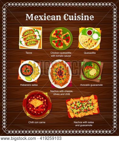 Mexican Cuisine Menu, Mexico Food Dishes And Meals, Vector Tacos And Quesadilla With Salsa Sauce. Tr