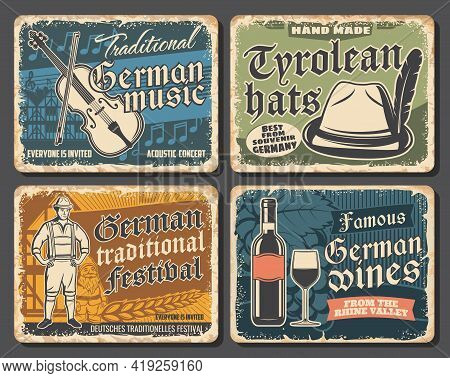 Germany Travel Landmarks And Culture Retro Posters, Vector Germany Tourism. Oktoberfest Traditional