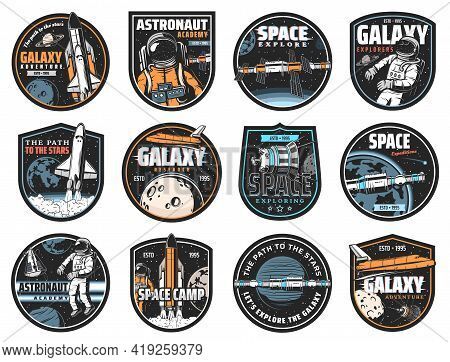 Space Vector Icons. Cosmonaut In Galaxy, Rocket In Outer Cosmos, Shuttle Expedition, Explore Or Adve