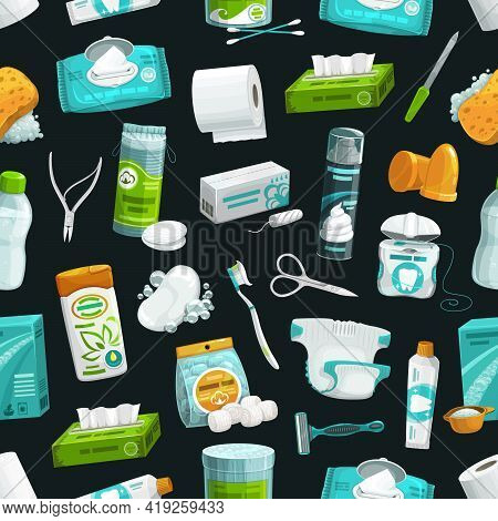 Personal Care, Hygiene And Health Pattern, Seamless Vector Background. Personal Care, Hygiene And Bo