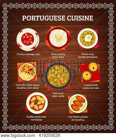 Portuguese Cuisine Menu Food Dishes, Portugal Restaurant Dinner And Lunch Meals, Vector Poster. Port