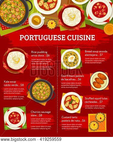 Portuguese Food Menu, Lunch Dishes And Portugal Restaurant Meals, Vector Poster. Portuguese Food Tra