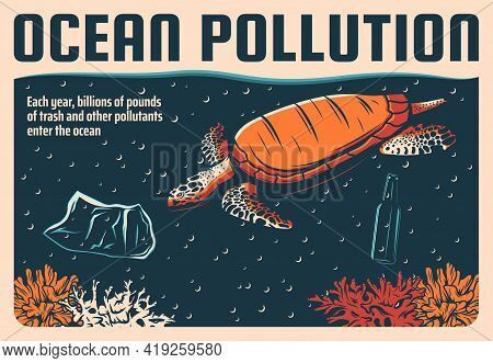 Ocean Pollution And Sea Water With Plastic Wastes, Ecology And Environment Vector Retro Poster. Stop