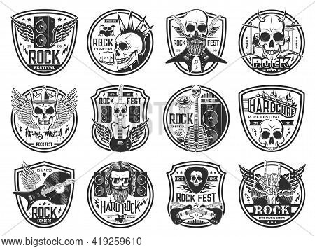 Rock And Heavy Metal Music Festival Icons. Hard Rock Concert, Live Show And Fest Emblems. Human Skul