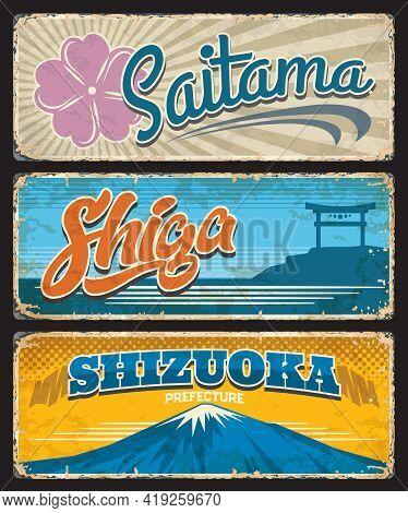 Saitama, Shiga, Shizuoka Tin Signs, Japan Prefecture Metal Plates. Japanese Region Shabby Vector Pla