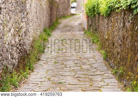 A Narrow Street In The Old Town. A Very Pleasant Street With Stone Paving Stones, Surrounded By Ston