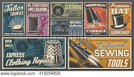 Tailor Workshop, Sewing Services Retro Posters. Needle And Thread, Fabrics Roll, Scissors And Button