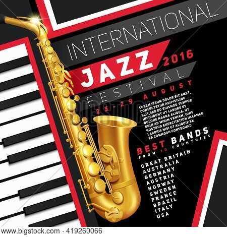 Poster For Jazz Festival With Golden Saxophone And Piano Keys Vector Illustration