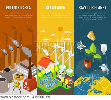 Eco Banner With Polluted Area Clean Area Save Our Planet Vector Illustration