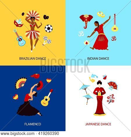 Woman Dancing Design Concept Set With Brazilian Indian Japanese Dance And Flamenco Isolated Vector I