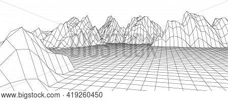 Wireframe 3d Landscape Mountains. Wireframe Landscape Wire. 3d Landscape. Digital Retro Landscape Cy