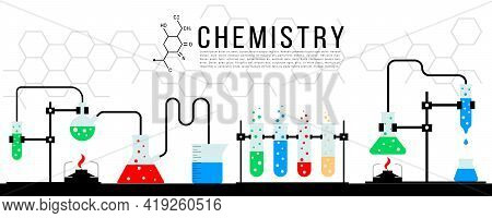 Scientific Concept Banner Of Chemical Experiment On White Background. Chemical Laboratory. Miscellan