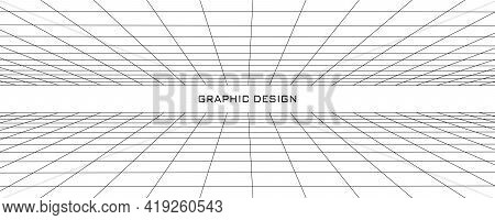 Network Connection Structure. Perspective Grid. Abstract Mesh Background. Vector Illustration.
