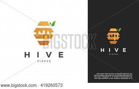 Honey Comb Logo Template Design Vector, Emblem, Honey Hive Design Concept, Creative Symbol,