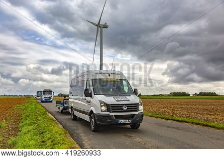 Le Gault-saint-denis, France - October 08, 2017: Voiture Balai (the End Of The Race Convoy) Driving