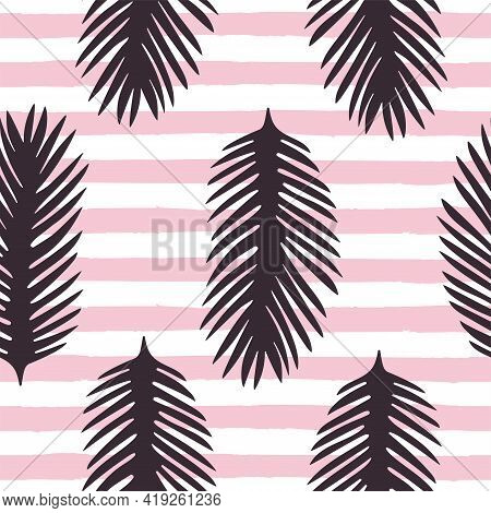 Cute Palm Leaf Seamless Pattern Vector Illustration Tropical Lush Foliage On Pink And White Striped
