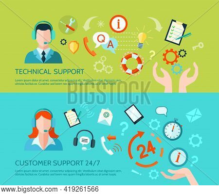 Comprehensive Technical Assistance And Round The Clock Customer Support Flat Style Horizontal Banner