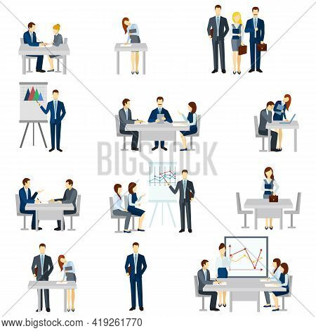 Business Coaching Icons Set With Discussion Diagrams And Team Flat Isolated Vector Illustration