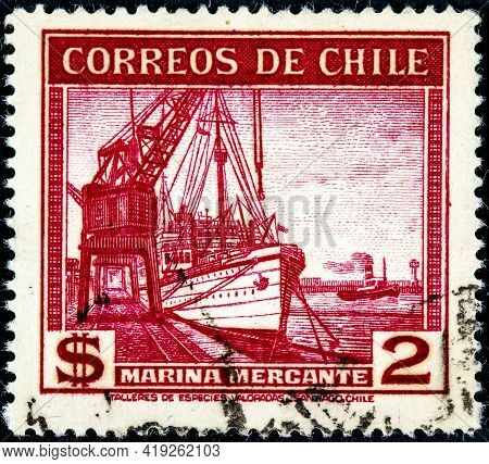 Chile, Circa 1936: A Stamp Printed In Chile Shows Sailing Ship Merchant Fleet, Circa 1936