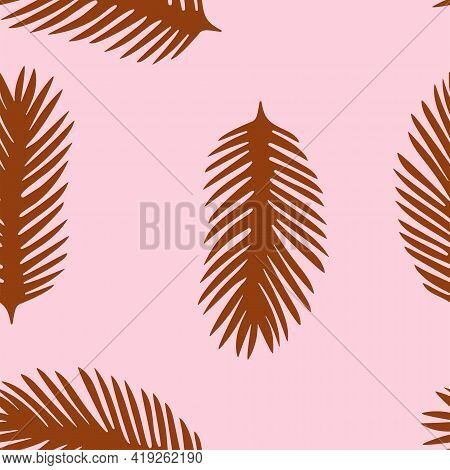 Golden Palm Leaves Vector Illustration In Flat Design Seamless Pattern Tropical Lush Foliage On Pink