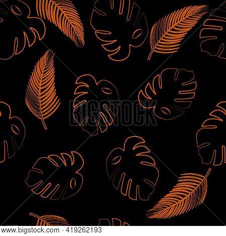 Vector Illustration With Palms Seamless Pattern  Bright Outline Lush Foliage On Black Background