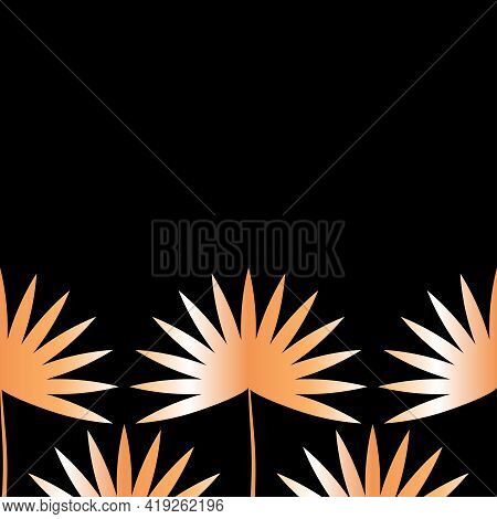 Palm Leaves Pattern Vector Illustration With Copy Space Gold Shiny Lush Foliage On Border Of Black B