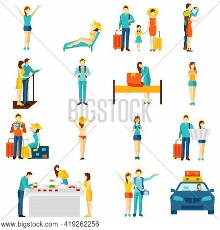 International Vacation Travelling Flat Icons Set With Taxi Sightseeing And Selfie Making Tourists Ab