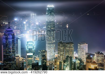 Hong Kong City Skyscraper Buildings And Business Financial District Central, Landmark Harbor View Of