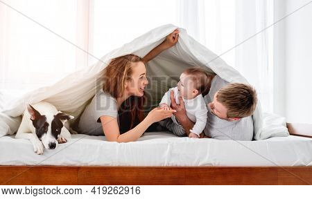 Mother and father lying in the bed under blanket with their son and cute dog and looking at each other. Beautiful family morning together with pet doggy. Happy parenthood moments