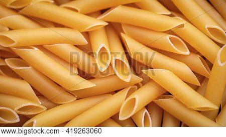 Penne Lisce Durum Pasta For Food Background